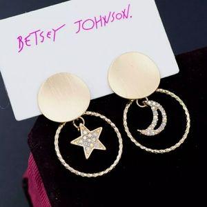 Crystal star and moon earrings